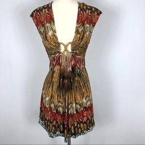 Sky Plunge neckline feather tassels Mini Dress